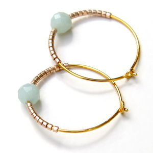 Faceted Amazonite And Petite Bead Hoops