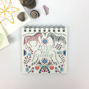 2019 Mini Animal Wall Calendar - planning & organising