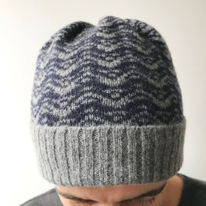 Mens Grey And Navy Knitted Lambswool Beanie Hat - hats