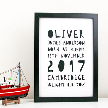 Baby Birth Details Typography Print
