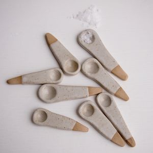 Handmade Oatmeal Pottery Salt Or Spice Spoon - scoops & ladles