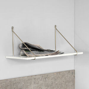 Contemporary Marble And Brass Shelf