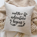 Embroidered Linen Cushion Wedding Gift