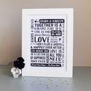 Personalised Wedding Typography Print