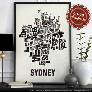 Sydney Letter Map Screen Print - posters & prints
