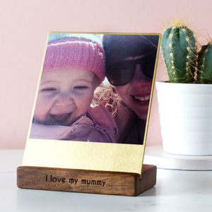 Personalised Brass And Walnut Desk Photo Block - personalised