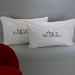 'Breakfast In Bed' Pillowcase Set - new in home