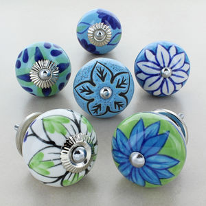 Blue Flowers Collections Ceramic Door Knobs Handles - home accessories