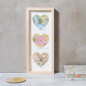 Three Personalised Map Hearts Etched Wedding Gift