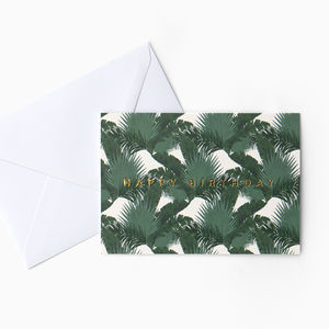 Dark Green Tropical Palms 'Happy Birthday' Card