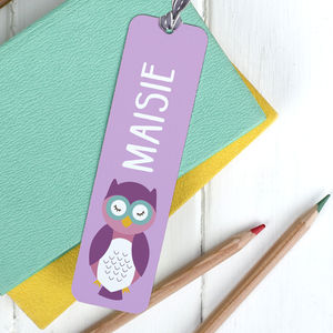 Children's Personalised Cute Animal Bookmark - books