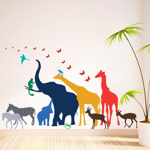 Thirteen Safari Animal Wall Stickers New Sizes - wall stickers