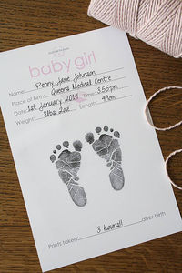 Baby Hand And Foot Inkless Print Certificate - pictures & prints for children