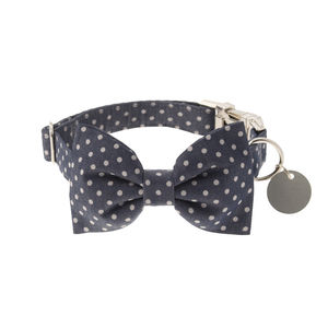 Denim Blue Polka Dot Bow Tie Dog Collar - dogs