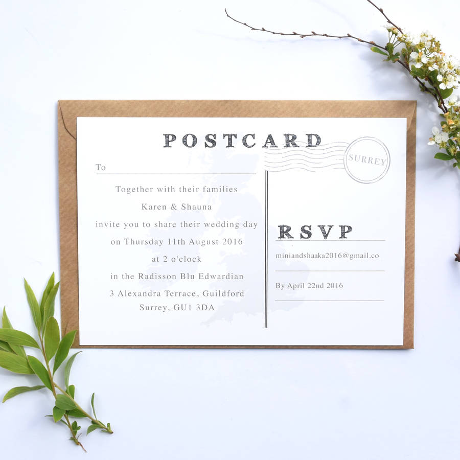 annelise map postcard wedding invitation by paper and inc