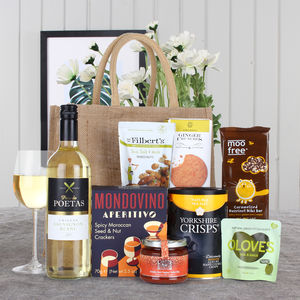 Gluten free nut free vegan hampers notonthehighstreet vegan jute bag gift hamper hampers negle Choice Image