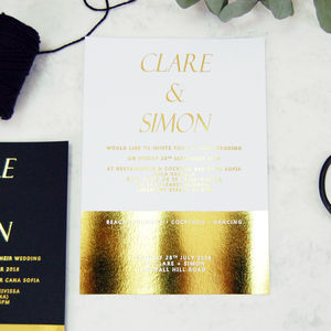 White And Gold Foil Block Wedding Invitation