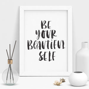 'Be Your Beautiful Self' Watercolour Typography Print - gifts for her