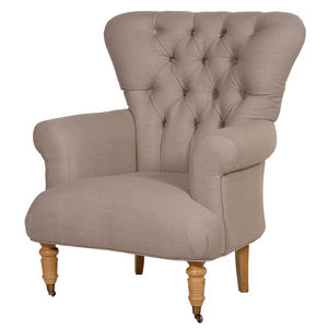 Upholstered Armchair In Cream Flock Or Linen - living room