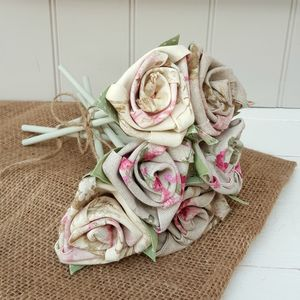 Handmade Floral Linen Anniversary Flowers With Tag - flowers, plants & vases