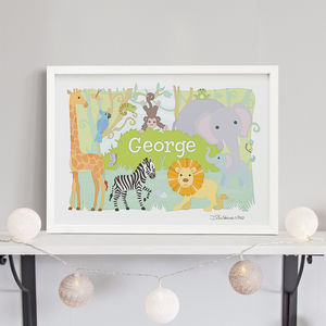 Jungle Animals Personalised Print
