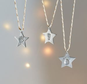 Personalised Fingerprint Silver Star Decoration
