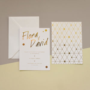 Urban Handwriting Gold Foil Wedding Stationery - wedding stationery