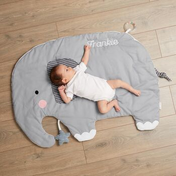 Personalised Grey Elephant Activity Playmat