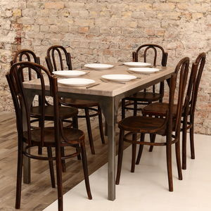 Contemporary Oak Steel Framed Industrial Dining Table - furniture