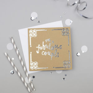 Fabulous Couple Silver Foiled Card - wedding cards