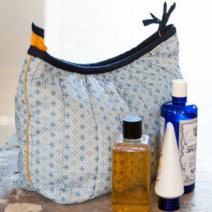 Washbag And Make Up Bag In Blue Tile Print - wash & toiletry bags