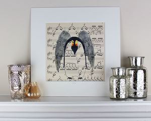 Penguin Angel On Antique Music Original Painting