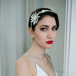 Vintage Jewelled Mother Of Pearl Sunflower Headpiece - wedding fashion