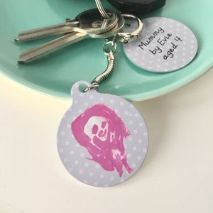 Child's Drawing Personalised Keyring Gift