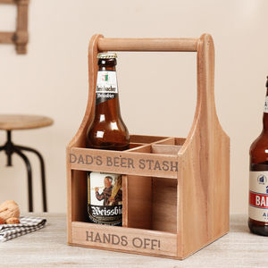 Personalised Wooden Dad's Beer Bottle Carrier