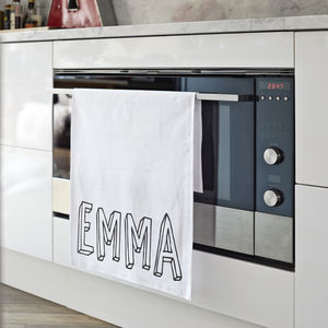Personalised 'Bubble Name' Tea Towel - kitchen