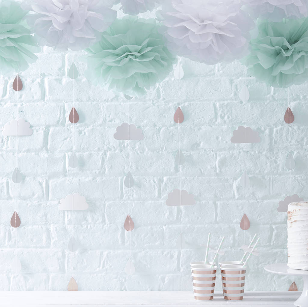 rose gold foiled raindrop baby shower backdrop bunting by ginger ray