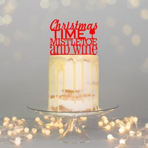 Christmas Time Mistletoe And Wine Cake Topper