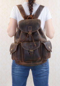 Classic Vintage Look Genuine Leather Backpack