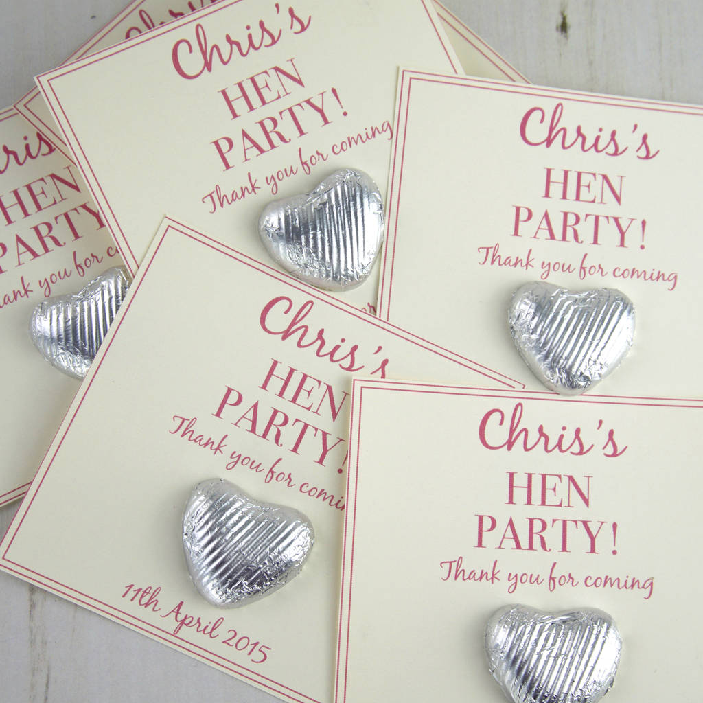 Personalised Hen Party Chocolate Heart Gifts By Tailored