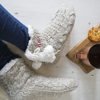 Women's Embroidered Cable Knit Slippers