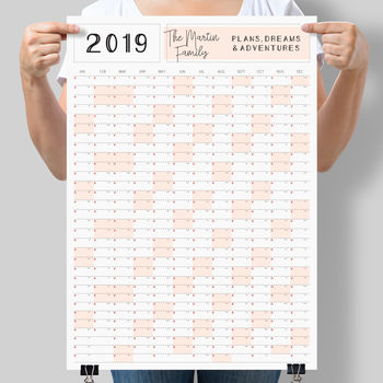 Personalised 2019 Family Calendar Year Planner