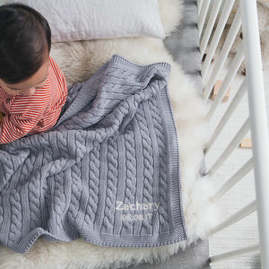 Baby Boys Hound Grey Cable Blanket - new baby gifts