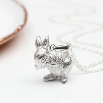 Personalised Sterling Silver Easter Rabbit Necklace