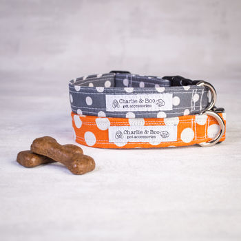 Orange Or Grey Dog Collar For Boy Or Girl Dogs