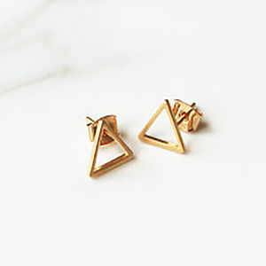 'Triangle' Gold Plated Stud Earrings