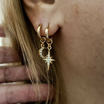 Moon And Star Hoop Earrings Set