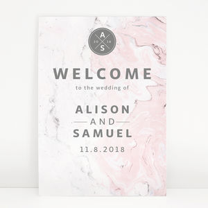 Pink And Grey Marble Wedding Welcome Sign