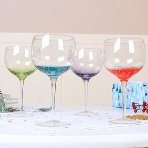 Luxury Colourful 'Fizz' Handblown Gin Glasses - glassware