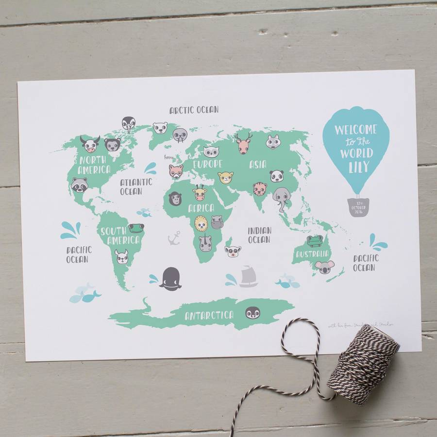 Personalised new baby or kids world map print by small dots personalised new baby or kids world map print gumiabroncs Images